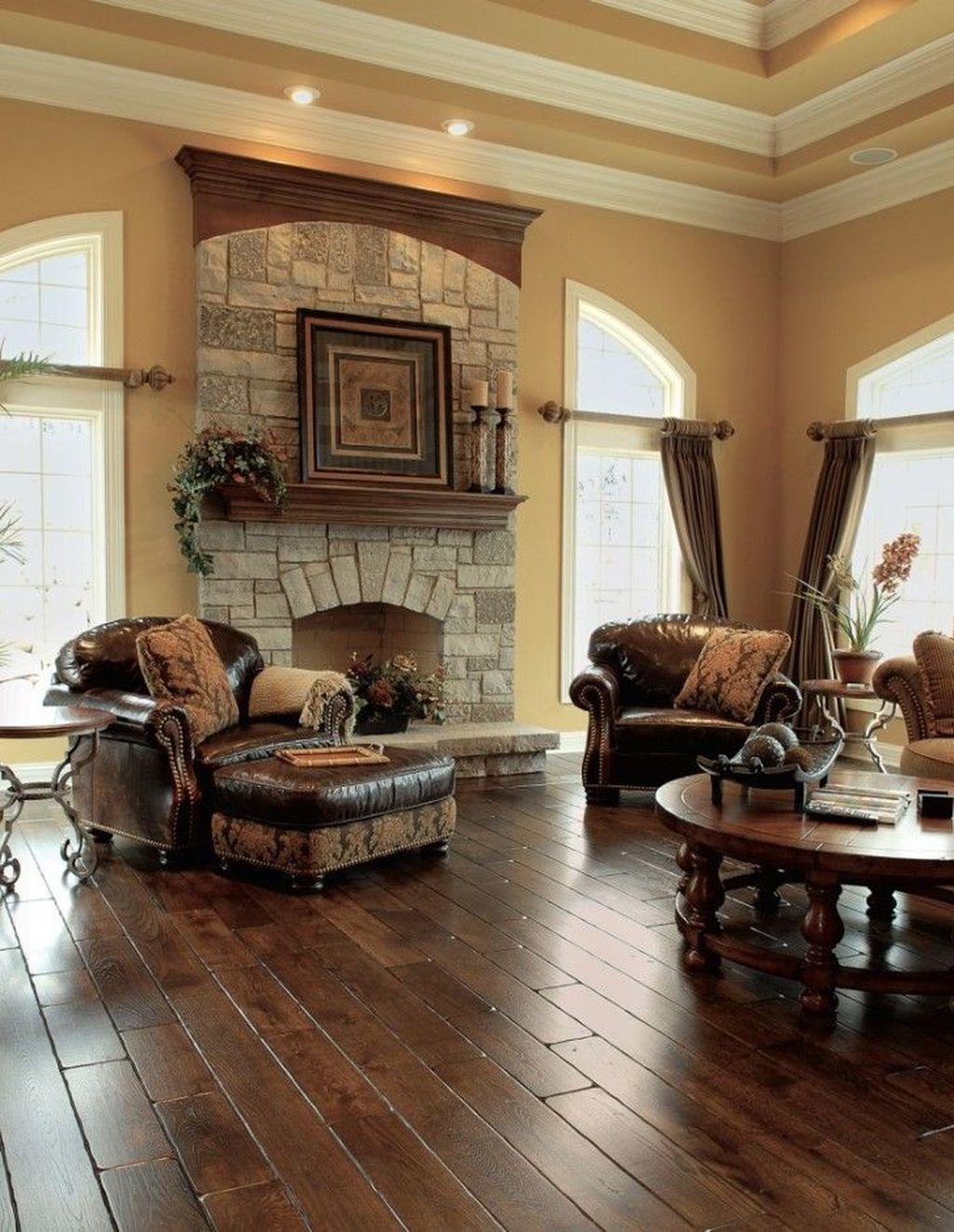 Inspiring Rustic Wooden Floor Living Room Design14