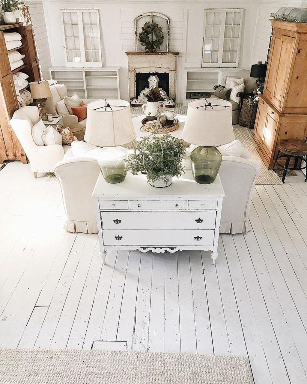 Inspiring Rustic Wooden Floor Living Room Design15