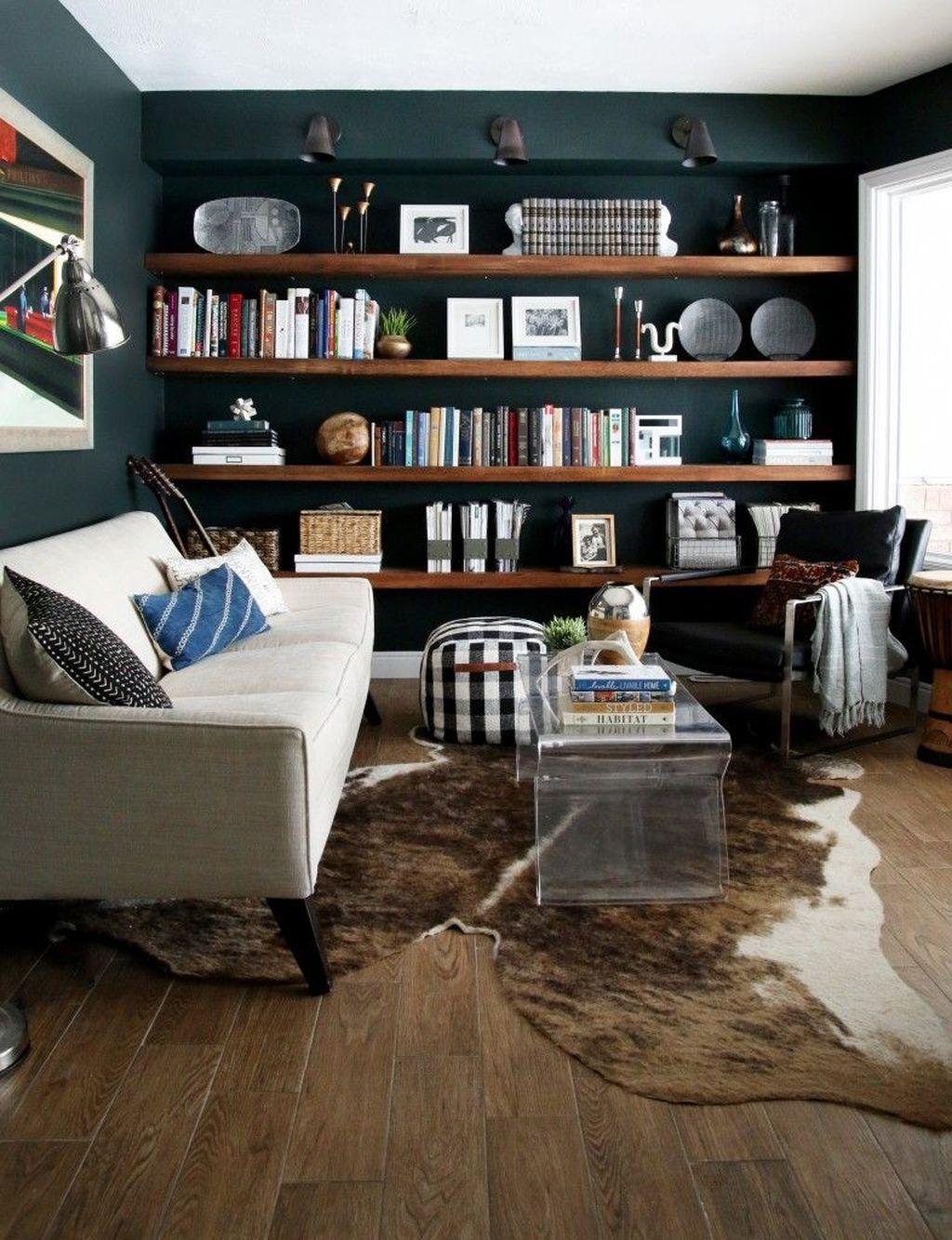 Inspiring Rustic Wooden Floor Living Room Design18