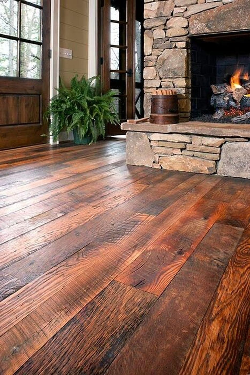 Inspiring Rustic Wooden Floor Living Room Design29
